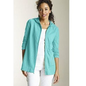 J. Jill Teal Zip Front Slub Hoodie Jacket Women XS